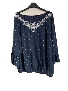 George Size 18 Blue Top With Bell Sleeves -(C81)