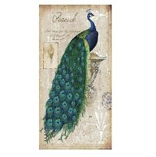 peacock peahen peafowl painting green Blue Canvas print wall Home Decor feathers