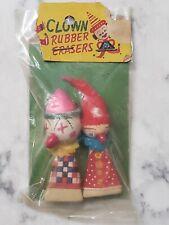 Vintage 1950s Spun Cotton Clown Head Rubber Pencil Erasers Japan New Sealed