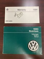 1984 Volkswagen Quantum Owners Manual