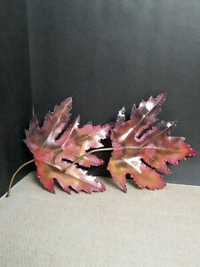 """2 Metal Wall Art Fall Maple Leaves Red Brown Orange 5"""" By 7"""" With Stem & Hanger"""