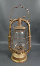 WWII German Military Feuerhand #323 Tubular RR Kerosene Lantern Light Lamp&Globe