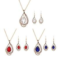 2X/set Necklace Earrings Set Fashion Gold/Silver Plated Jewelry Set Metal New BR