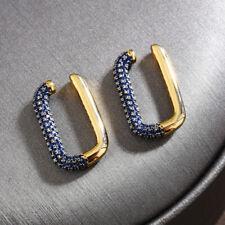 Pendientes Clip Cartílago De Anillo Rectángulo Zirconita Azul Chapado Oro 18K