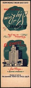 Vintage matchbook cover EL CORTEZ HOTEL San Diego California salesman sample