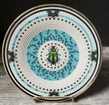 "Anthropologie Margot Tile Beetle Snack Plate 8.5"" NWT Black White Gold Blue"