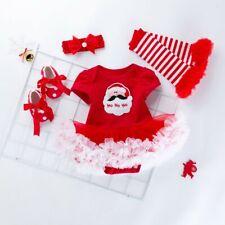 Toddler Kids Baby Girls Santa Christmas Xmas Printing Romper Skirt Outfits Set