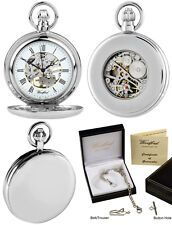 Woodford completa cacciatore orologio da taschino Scheletro Indietro Piastra Cromata INCISIONE GRATIS 1098