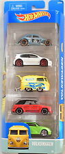 HOT WHEELS 5 CAR PACK VOLKSWAGEN GOLF BEETLE KOMBI TYPE 181