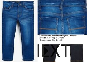 NEXT boys jeans skinny stretch denim 3 4 5 6 7 8 9 10 12 y blue RRP £11 - £14