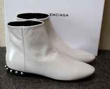 NIB AUTHENTIC BALENCIAGA PARIS GREY PATENT LEATHER ANKLE BOOTIES BOOTS Shoe 38.5