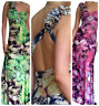 Ladies Maxi Dress Bodycon Stretch Long Evening Party BoHo Summer Size 8 10 12