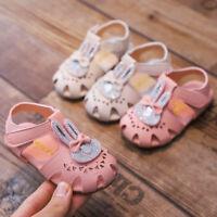 Toddler Infant Baby Girls Sweet Rabbit Crystal Princess Summer Shoes Sandals