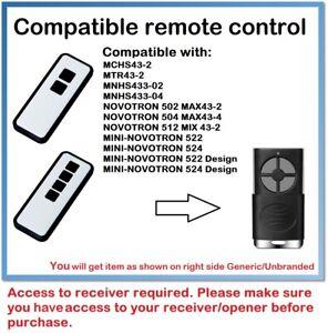 Compatible Remote Control for NOVOFERM Mini-Novotron 522, 524 Rolling Code