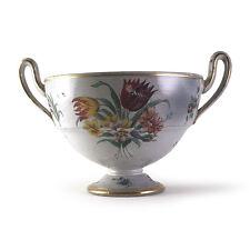 Antique European Enameled Faience Majolica Ceramic Twin Handle Bowl Urn, 19th C.