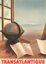 Cie Gle TRANSATLANTIQUE COMPAGNIE GENERALE French Travel Poster. Art Deco