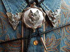NEW WOLF  BOLO BOOTLACE TIE & COLLAR TIPS SET,SILVER METAL, LEATHER CORD WESTERN