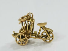 Vintage 18K Gold TUK TUK TRICYCLE TAXI Charm MOVES
