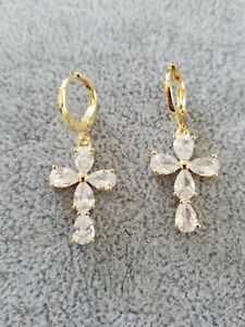 Bright Yellow Gold Plated Multi Crystal Cross Shape Dangle Earrings