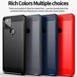 For Google Pixel 5 XL 4A 4 XL 3A XL Shockproof Fiber Carbon Soft TPU Case Cover
