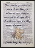 Winnie The Pooh Quote Print Vintage Dictionary Page Picture Wall Art Brave Cute