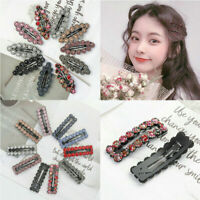 2PCS Women's Crystal Snap Hair Clip Hairpin Barrette Slide Hair Pin Accessorie