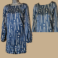 MONSOON Blue Ivory Silky Polyester Long Sleeve Round Neck Tunic Dress 12 UK 40