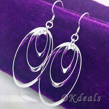Women 925 Sterling Silver Plated Hoop Dangle Earring Studs Jewelry Hot