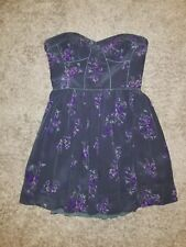 Rebecca Taylor blue floral strapless corset dress SIZE 8