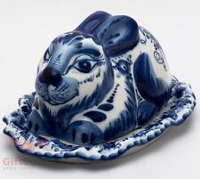 Gzhel Porcelain server plate or butter dish holder Rabbit Hand-painted Маслёнка