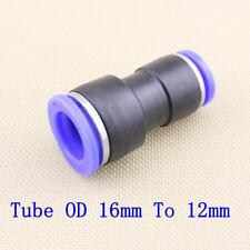 5pcs Pneumatic Reduced Union Tube OD 16mm To 12mm Air Push In Fitting Converter