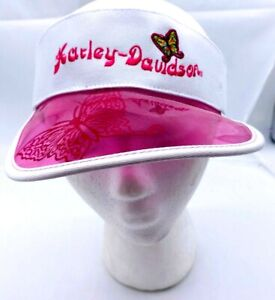 Harley-Davidson® Ladies Pink & White Butterfly Sun Visor Adjustable