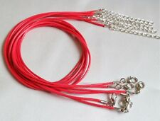 1mm Red Waxed Leather Rope Choker Necklace Chain for Pendant 18 Inch Cord UK LT