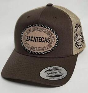 ZACATECAS   MEXICO HAT. MESH TRUCKER  BROWN KACKY  ADJUSTABLE NEW 2LOGOS