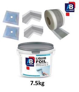 Wet Room System Waterproof Tanking Kit Aqua Build LIQUID FOIL Seal Shower 7.5m²