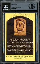 Joe DiMaggio Autographed Signed HOF Plaque Postcard Yankees Beckett 12059082