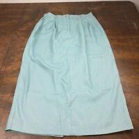 Women's Talbots Linen Pencil Skirt Size 12 Ankle Length Light Aqua Blue Career