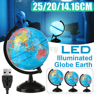 25CM World Earth Globe Map Geography Education Gift Rotating LED Desk Lamps