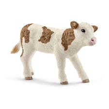 SCHLEICH Farm World Simmental Calf Toy Figure, White/Brown, 3 to 8 Years (13802)