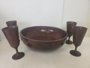 "Wooden Mahogany Bowl 11.5"" DIAMETER Wooden Cups Chalice Cuba Made in Haiti Vintg"