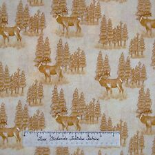 Riverwoods Fabric - Elk Tree Scene Cream - Woods Water Wildlife Cotton YARD