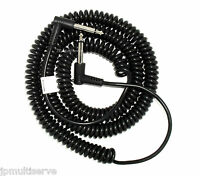 """1/4"""" Male Mono 25 ft Coiled Patch Cord Audio Instrument cable 90 degree ends"""