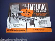 IMPERIAL SHUFFLE ALLEY By CHICAGO COIN 1966 ARCADE GAME MACHINE FLYER BROCHURE