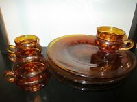 Indiana Glass Kings Crown Thumbprint Amber Snack/Luncheon Plate & Cup Set of 4