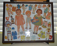 Vintage 1920 & 30's  Paper Dolls including Audrey, Wendy with Accessories Framed