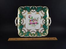 Very Fine Antique English Worcester or Chelsea Floral Gilt Square Dessert Plate