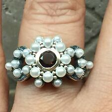 Natural Freshwater Seed Pearl, Bohemian Garnet 925 Solid Sterling Silver Ring 8