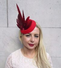 Red Pheasant Feather Pillbox Hat Hair Fascinator Races Wedding Vintage Clip 3765