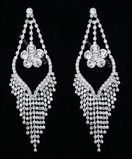 "5"" Bridal Wedding Pageant Crystal Chandelier Earrings"