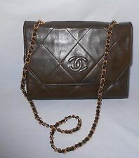 Vintage Chanel Brown Lambskin Quilted Envelope Gold Chain Purse Handbag